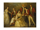 A Group Portrait of a Christening Party with a Lady Seated Full Length, with Her Husband Behind… Giclee Print by Thomas Hickey