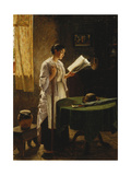 The Morning Paper, 1869 Giclee Print by Haynes King