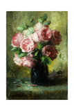 Pink Roses in a Vase Giclee Print by Frans Mortelmans