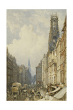 Fleet Street Looking Up to Temple Bar with Old St. Dunstans, and St. Clement Danes, 1834 Giclee Print by George Sidney Shepherd