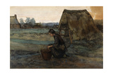 A Kneeling Peasant Woman in Front of a Hut; Paysanne Agenouillee Devant Une Cabane, 1883 Giclee Print by Vincent van Gogh