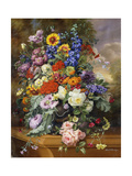 Still Life with Roses, Delphiniums, Poppies, and Marigolds on a Ledge Giclee Print by Albert Williams
