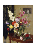 Still Life with Gladioli, Roses and Hollyhocks before an Embroidered Curtain Giclee Print by Albert Williams