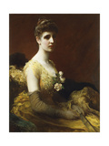 Portrait of Lady Dixon of Rheda, Three-Quarter Length, Seated Wearing a Yellow Dress with Flowers… Giclee Print by James Sant