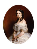 Portrait of a Lady, Half Length, Wearing a White Dress and Holding a Pair of Lunettes Giclee Print by Franz Xaver Winterhalter