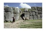 Quechua Woman and Llama Walking Past a Monumental Inca Doorway and Wall at Sacsahuaman Giclee Print