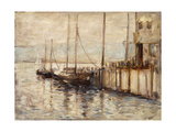 Fishing Boat in a Harbor Giclee Print by John Henry Twachtman
