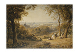 A View of Versailles with Elegant Figures in the Foreground at Sunset Giclee Print by George The Younger Barret