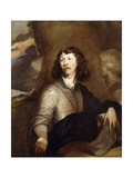 Portrait of a Gentleman, Possibly the Artist, Half-Length, in a Brown Cloak and Blue Wrap, Beside… Giclee Print by William Dobson
