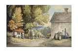 A Village Green: a Carriage Halted Beneath a Tree, with a Man in the Stocks and a Group of… Giclee Print by Thomas Rowlandson