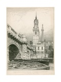 Part of Old London Bridge, St Magnus and the Monument Giclee Print by Edward William Cooke