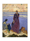 Two Women on Rocks by the Sea Giclee Print by Derwent Lees