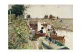Boaters in a Lock on the Thames Giclee Print by Hector Caffieri