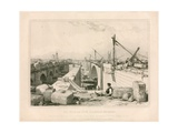 The Old and New London Bridges, 1830 Giclee Print by Edward William Cooke