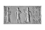 "Old Babylonian Cylinder Seal with Depiction of ""The Man with the Mace"", Conventional Name for an… Giclee Print"