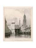 Steps of New London Bridge, St Magnus, the Monument and Part of the Old Bridge Giclee Print by Edward William Cooke