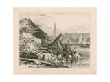 Demolition of Part of Old London Bridge. March 1832 Giclee Print by Edward William Cooke