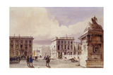 Hotel De Bellevue and Cafe D'Amitie Seen from the Park, Brussels, 1830 Giclee Print by Thomas Shotter Boys