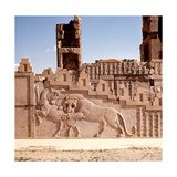 A Detail of a Relief Carving on the Staircase Leading to the Tripylon at Persepolis, Depicting a… Giclée-Druck