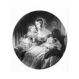 The Queen, the Princess Royal and the Prince of Wales, Engraved by R. Piercy, 1842 Giclee Print by Edwin Henry Landseer