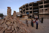 Afghan Children Playing Amid Ruins in Kabul Photographic Print