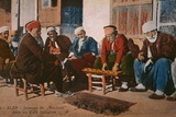 Postcard Depicting Mancala Players in a Cafe at Aleppo, Syria, C.1920 Photographic Print