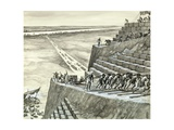 Building the Great Pyramid at Giza Giclee Print by Peter Jackson
