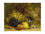 Grapes, an Apple, a Pear and a Bird's Nest on a Mossy Bank, 1865 Giclee Print by William Hughes