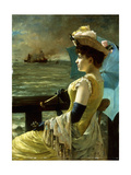 A Lady with a Parasol Looking Out to Sea Giclee Print by Alfred Emile Stevens