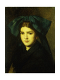 A Portrait of a Young Girl with a Bow in Her Hair Giclee Print by Jean-Jacques Henner