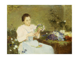 Arranging Flowers for a Spring Bouquet Giclee Print by Victor Gabriel Gilbert