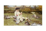 Feeding Ducks, 1883 Giclee Print by Edward Killingworth Johnson