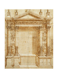 Design for an Altar with a Pedimented Tabernacle Supported on Paired Corinthian Statues of Saint… Giclee Print by Baldassarre Peruzzi