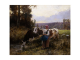 Cows at the Watering Hole Giclee Print by Julien Dupre