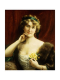 An Elegant Lady with a Yellow Rose Giclee Print by Emile Vernon