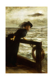 Lady in Black by the Sea Giclee Print by George van den Bos
