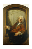 Portrait of Monsieur Dupille, Mid-Body, in a Robe Sitting on the Edge of a Window, 1733 Giclee Print by Antoine Coypel
