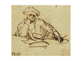 Study of a Writer, Seated, Pausing in Thought Giclee Print by  Rembrandt van Rjin