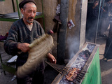 Man Cooking Kebabs in a Market, Kabul Photographic Print