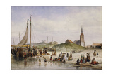 Fisherfolk on a Beach with a Town Beyond, 1857 Giclee Print by Johan Gerard Smits