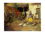 Feeding the Chickens Giclee Print by Jose Benlliure Y Gil