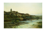A French River Town Giclee Print by Edmond Petitjean