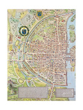 Detail of the Right Bank, from the Map of Paris C. 1540, known as the 'Plan De La Tapisserie',… Giclee Print by Caroline Naudet