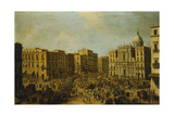 The Largo San Ferdinando, Naples, at Carnival Time with the Royal Carriage Approaching the… Giclée-tryk af Antonio Joli