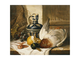A Mallard, a Jug, a Peeled Lemon, Grapes and Shrimps on Draped Ledge Giclee Print by Edward Ladell