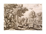 Otter Hunting by a River, Engraved by Wenceslaus Hollar, 1671 Giclee Print by Francis Barlow