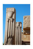 Two Granite Heraldic Pillars Depicting the Sacred Lotus and Papyrus Giclee Print