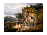 Figures by a Waterfall, 1825 Giclee Print by Francis Nicholson