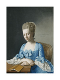 Portrait of Grace, Countess of Clanbrassil, Nee Foley, Half Length, in a Blue Dress, Seated at a… Giclee Print by Jean-Etienne Liotard