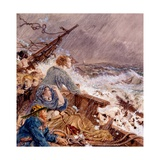 Grace Darling and Her Father Saving the Shipwrecked Crew, Sept 7, 1838 Giclee Print by William Bell Scott